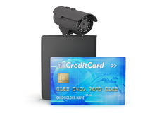 Credit card, leather wallet and video surveillance camera Stock Photos