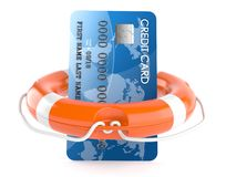 Credit card with life buoy Stock Photos