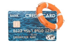 Credit card with lifebelt, security payment concept. 3D renderin. Credit card with lifebelt, security payment concept. 3D Stock Photography