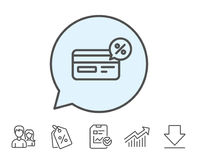 Credit card line icon. Cashback service. Stock Photography