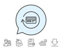Credit card line icon. Cashback service. Stock Photo