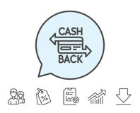 Credit card line icon. Cashback service. Royalty Free Stock Photo