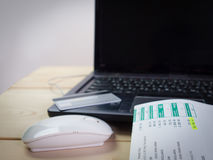 Credit card , On-line shopping. On the internet using a laptop Royalty Free Stock Photography