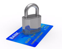 Credit card with lock. 3D image Royalty Free Stock Images