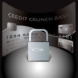 Credit card lock. Credit card and padlock showing the financial dangers of spending Royalty Free Stock Photo