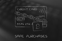 Credit card with lock and chain as funny payment safety Stock Images