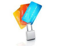 Credit Card and lock.safe banking concept on white background. Image of credit card and lock .safe banking concept. 3d illustration on white background Stock Photography
