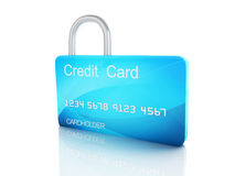 Credit Card and lock.safe banking concept on white background Stock Image