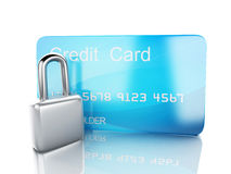 Credit Card and lock.safe banking concept on white background. Image of credit card and lock .safe banking concept. 3d illustration on white background Stock Photos