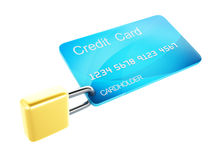 Credit Card and lock.safe banking concept on white background Royalty Free Stock Image