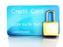 Credit Card and lock.safe banking concept on white background. Image of credit card and lock .safe banking concept. 3d illustration on white background Royalty Free Stock Photography