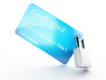 Credit Card and lock.safe banking concept on white background. Image of credit card and lock .safe banking concept. 3d illustration on white background Royalty Free Stock Photos