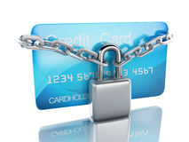 Credit Card and lock.safe banking concept on white background Royalty Free Stock Photography