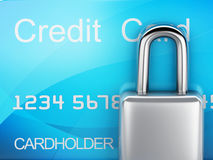 Credit Card and lock.safe banking concept on white background. Image of credit card and lock .safe banking concept. 3d illustration on white background Stock Image