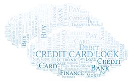 Credit Card Lock word cloud. Wordcloud made with text only royalty free illustration
