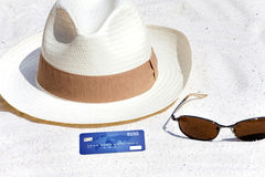 Credit card lying on the beach Stock Photo