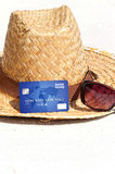 Credit card lying on the beach Stock Image