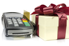 Credit Card Machine. Credit card reader machine and gift box , on white background Royalty Free Stock Photography