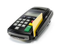 Credit Card Machine. Credit card reader machine and gold credit card swipe , on white background Royalty Free Stock Photos