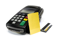 Credit Card Machine. Credit card reader machine and blank credit card , on white background Stock Photo
