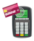 Credit Card Machine with contact less option. EPS10 Available Stock Image