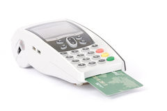 Credit card machine and credit card Royalty Free Stock Photos