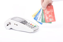 Credit card machine and credit cards Royalty Free Stock Images