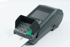 Credit card machine on isolated stock image