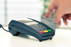 Credit card machine, payment for online shopping royalty free stock images