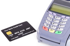 Credit card machine on white Stock Image