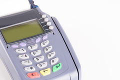 Credit card machine on white Stock Photos