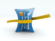 Credit card in measuring tape. 3d illustration Stock Images