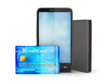 Credit card, mobile phone and leather wallet Royalty Free Stock Photography
