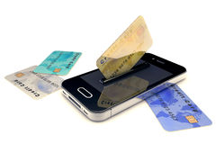 Credit Card and mobile phone Royalty Free Stock Photos