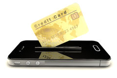 Credit Card and mobile phone Royalty Free Stock Images