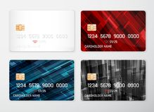 Credit card mockup. Realistic detailed credit cards set abstract design background. Front template. Money, payment symbol. Vector. Illustration EPS10 Stock Photos