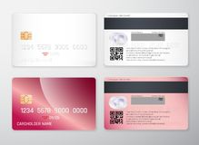 Credit card mockup. Realistic detailed credit cards set abstract design background. Front and back side template. Money, payment s. Ymbol. Vector illustration royalty free illustration