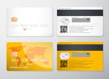 Credit card mockup. Realistic detailed credit cards set abstract design background. Front and back side template. Money, payment s. Ymbol. Vector illustration vector illustration