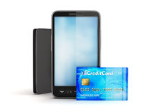 Credit card, modern cell phone and leather wallet vector illustration