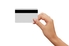 Credit card in a moman hand Stock Images