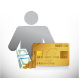 Credit card money avatar illustration Stock Photos
