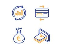 Credit card, Money bag and Update data icons set. Cash sign. Bank payment, Euro currency, Sales chart. Vector vector illustration