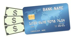 Credit card with money banknotes dollars Stock Images