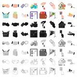 Credit, card, money, bargain, calculator, auction, shop.E- commerce set collection icons in cartoon style vector symbol Stock Photos