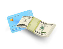 Credit card with money Stock Images