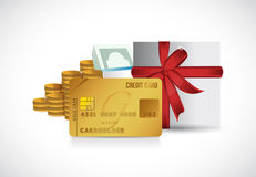 Credit card money and present illustration design Stock Photos