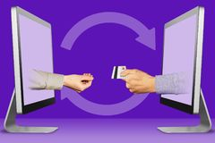 Credit card money transfer concept, two hands from laptops. pleading gesture and hand with credit card. 3d illustration. Credit card money transfer concept royalty free stock image