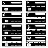 Credit card monochrome symbols collection. Vector illustration Stock Photos
