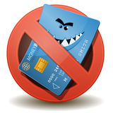 Credit Card Not Allowed. Illustration of a cartoon wicked credit card character inside a forbidden sign icon Royalty Free Stock Photos
