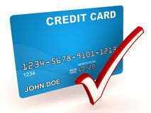 Credit card ok. Credit card use OK, credit card with check mark, blue card on white background Royalty Free Stock Images